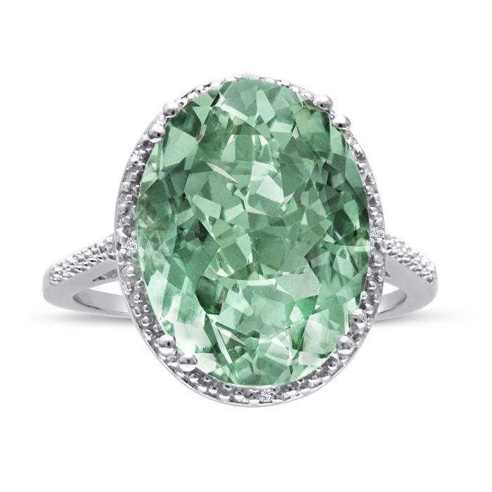 8ct Oval Shape Green Amethyst And Diamond Ring Crafted In Solid Sterling Silver