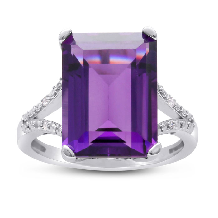 10 ct. emerald shape amethyst and diamond ring crafted in solid sterling silver from Super Jeweler