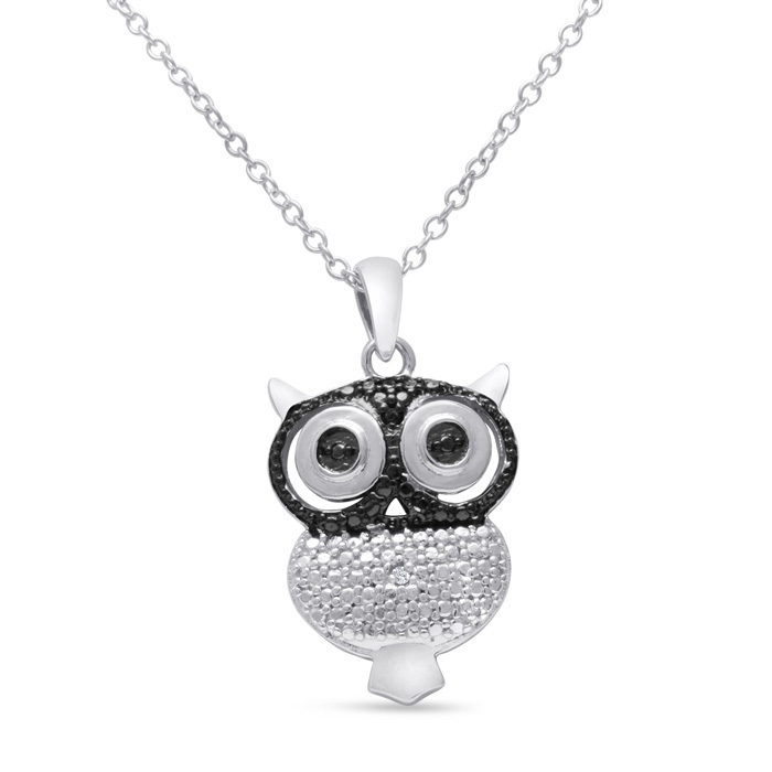 Black And White Diamond Owl Necklace Crafted In Solid Sterling Silver, 18 Inches
