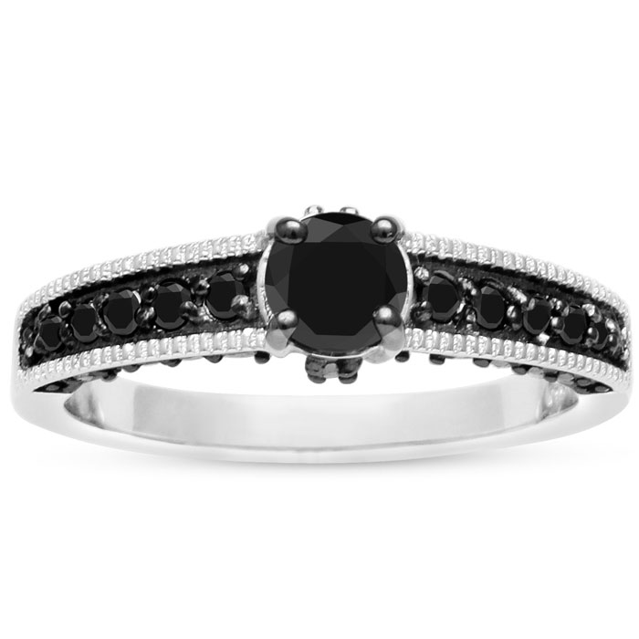 1ct Black Diamond Pave Engagement Ring Crafted In Solid Sterling Silver thumbnail
