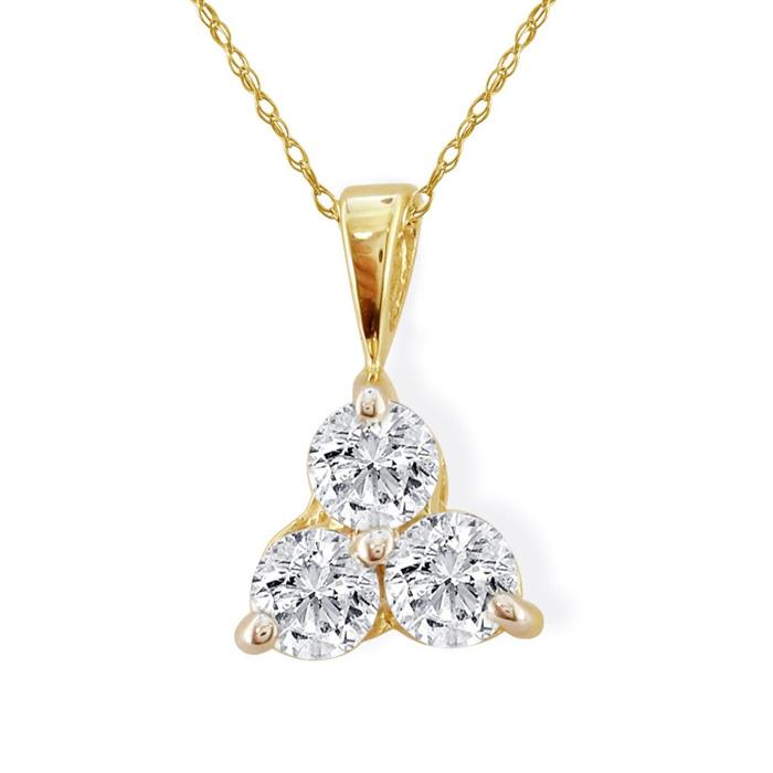 1/2ct Three Diamond Triangle Style Diamond Pendant In 14k Yellow Gold