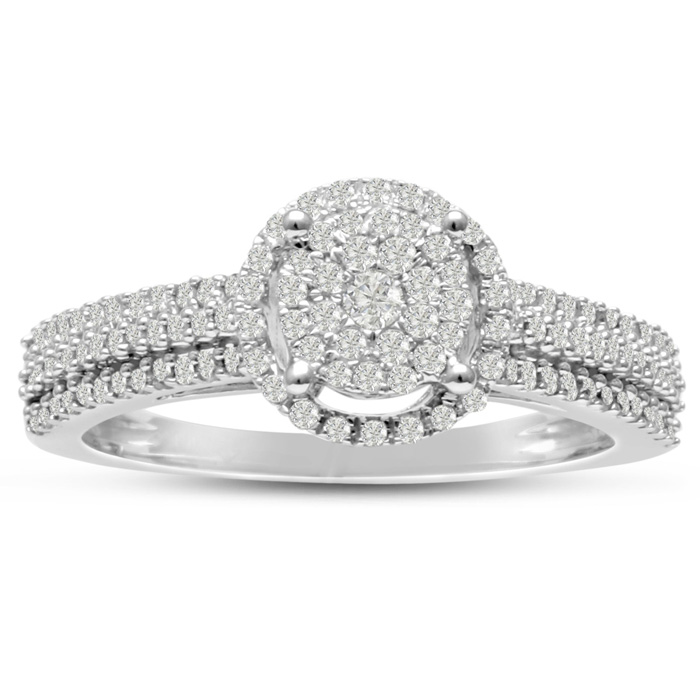 1/2ct Pave Halo Diamond Engagement Ring Crafted In Solid White Gold thumbnail