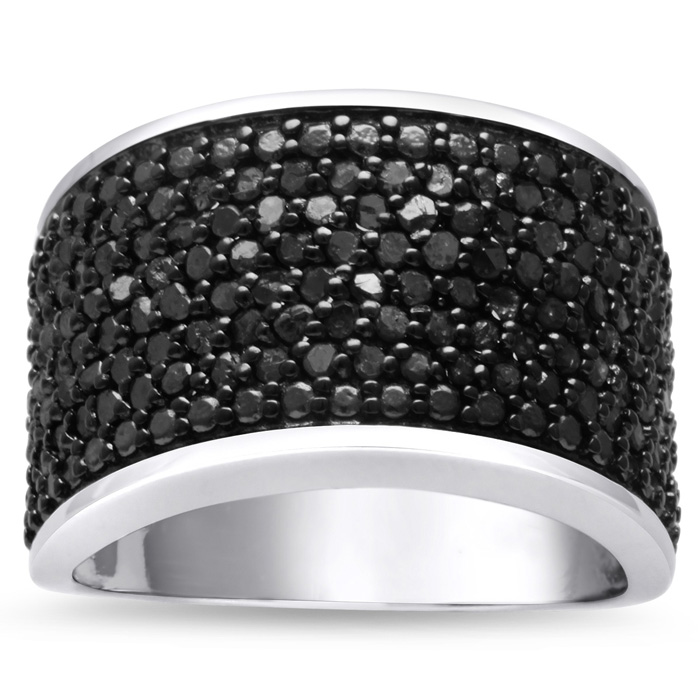 Only $74.77!!!   Incredible Blowout Of A 1 Carat Black Diamond Cigar Band.  Selling At Fraction Of The Retail Price!  1ct Black Diamond 8 Row Ring Crafted In Solid Sterling Silver