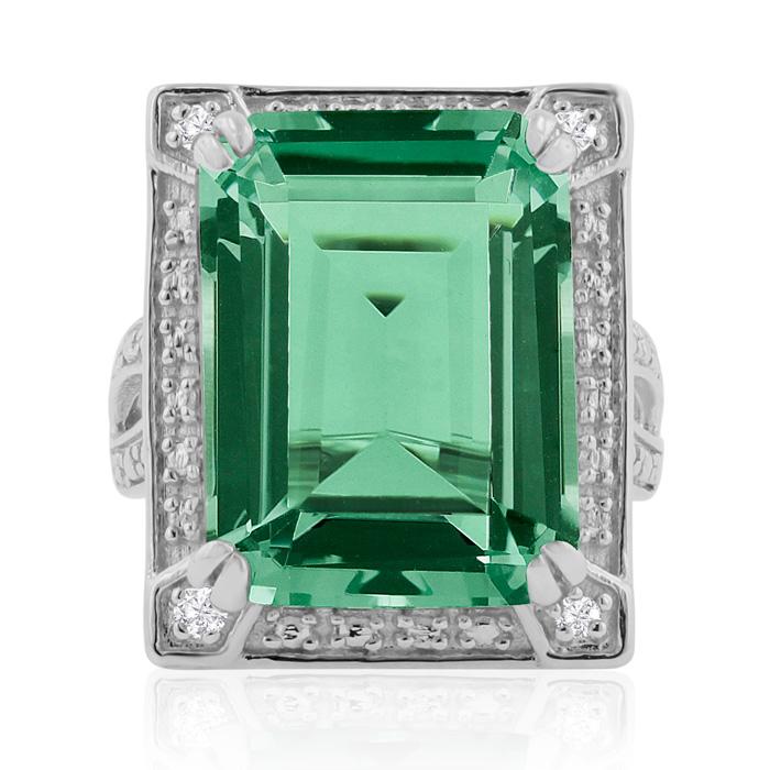 11ct Emerald Cut Green Amethyst Ring