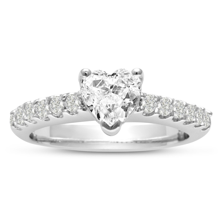 1 1/3ct Heart Shaped Diamond Engagement Ring Crafted in 14 Karat White Gold, Also Available in Yellow and Rose Gold
