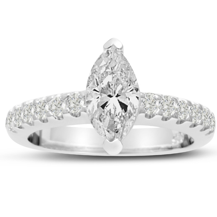 1 1/3ct Marquise Shaped Diamond Engagement Ring Crafted in 14 Karat White Gold, Also Available in Yellow and Rose Gold