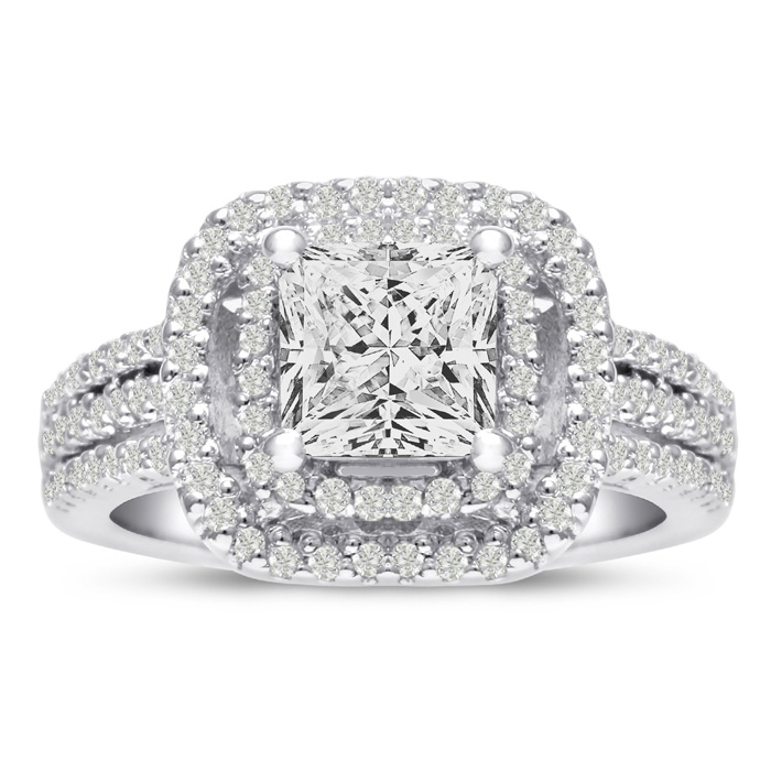 1 2/3ct Princess Cut Double Halo Diamond Engagement Ring Crafted in 14 Karat White Gold, Also Available in Yellow and Rose Gold