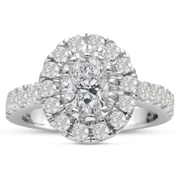 1.60ct Oval Halo Diamond Engagement Ring Crafted in 14 Karat White Gold,  Also Available in Yellow and Rose Gold