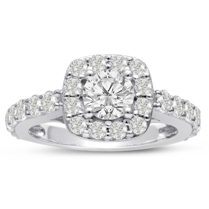 1 3/4ct Halo Diamond Engagement Ring Crafted in 14 Karat White Gold,  Also Available in Yellow and Rose Gold