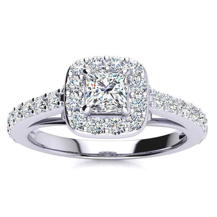 2ct Princess Cut Halo Diamond Engagement Ring in 14k White Gold