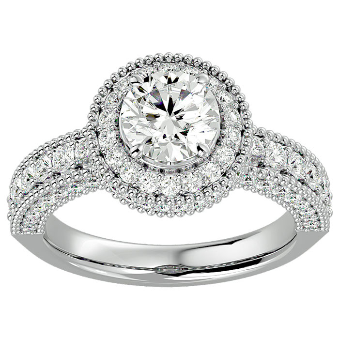 2ct Halo Diamond Engagement Ring Crafted in 14 Karat White Gold, Also Available in Yellow and Rose Gold