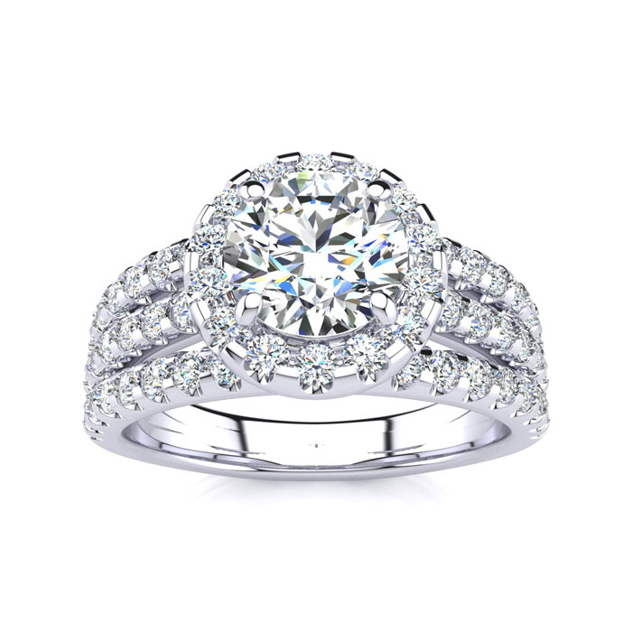 1.66ct Halo Diamond Engagement Ring in 14k White Gold, Available in Yellow and Rose Gold.