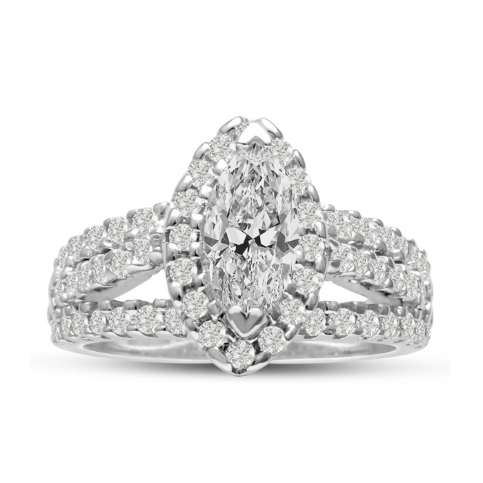 1 2/3ct Marquise Halo Diamond Engagement Ring Crafted in 14 Karat White Gold thumbnail