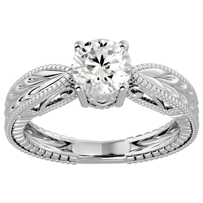 1ct Solitaire Diamond Engagement Ring with Tapered Etched Band Crafted in 14 Karat White Gold