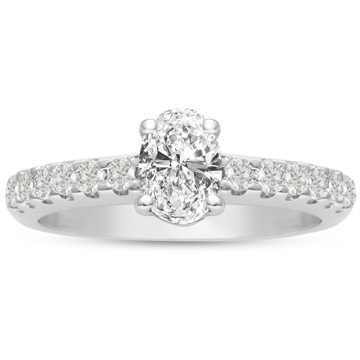 1 1/3ct Oval Diamond Engagement Ring Crafted in 14 Karat White Gold