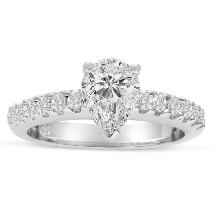 1 1/2ct Pear Shaped Diamond Engagement Ring Crafted in 14 Karat White Gold