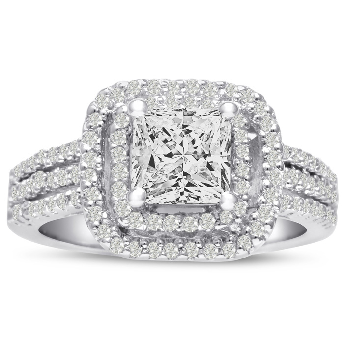 1 2 3ct Princess Cut Double Halo Diamond Engagement Ring Crafted in 14 Karat