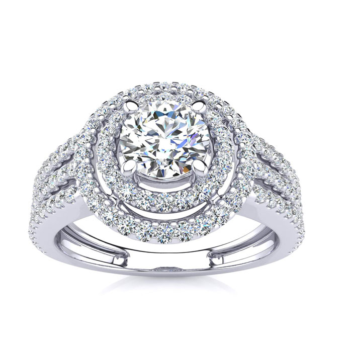 1 1/2ct Round Double Halo Diamond Engagement Ring Crafted in 14 Karat White Gold