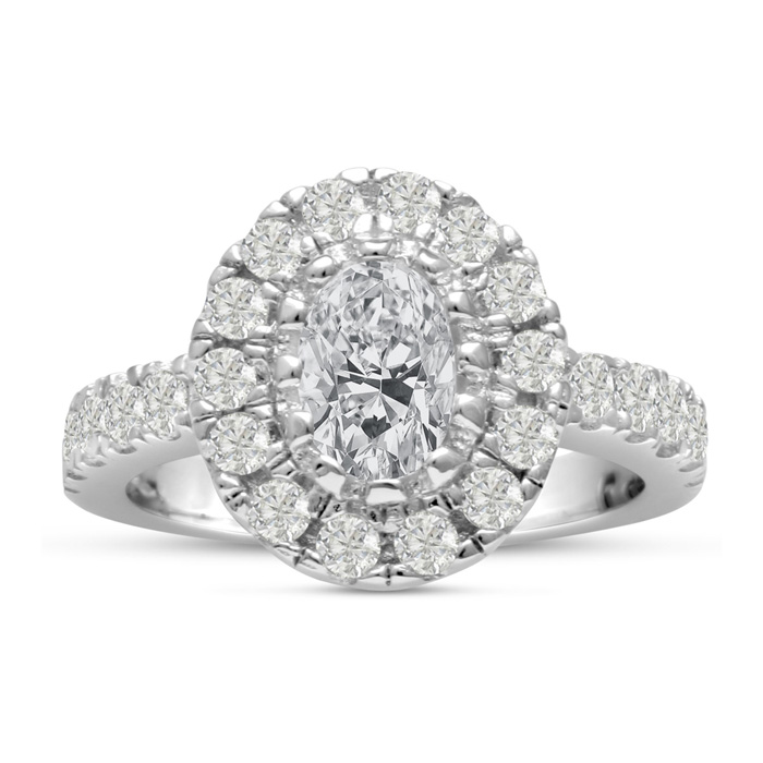 1 3/5ct Oval Halo Diamond Engagement Ring Crafted in 14 Karat White Gold