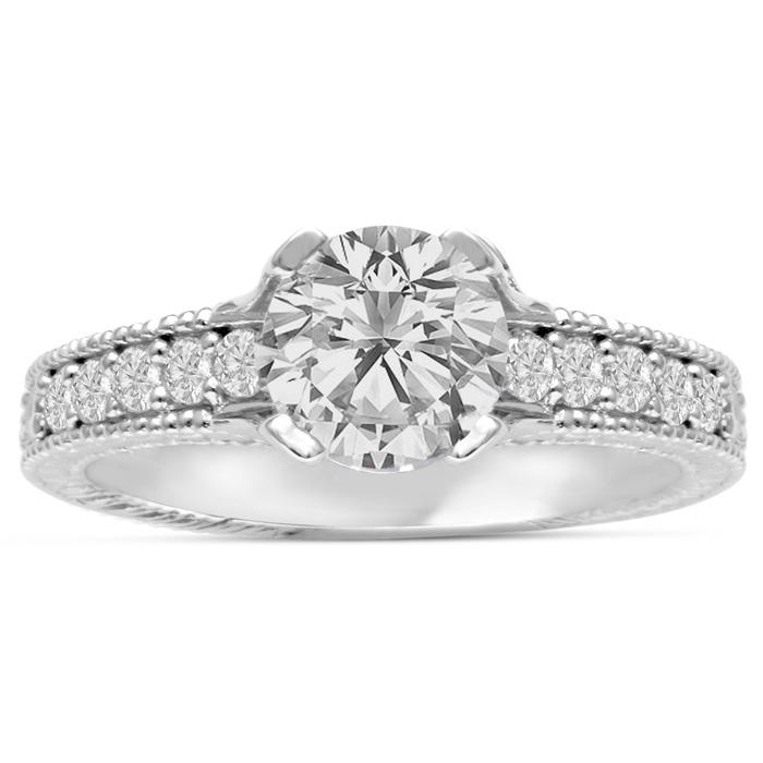 1 2/3ct Round Brilliant Diamond Engagement Ring Crafted in 14 Karat White Gold