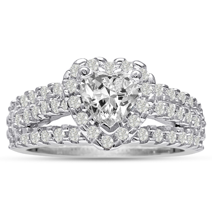 1 2/3ct Heart Halo Diamond Engagement Ring Crafted in 14 Karat White Gold