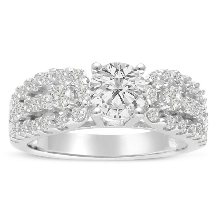 1 1/5ct Round Brilliant Diamond Engagement Ring Crafted in 14 Karat White Gold