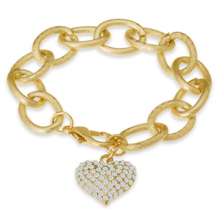 Black Friday Jewelry- Swarovski Elements Floating Heart Bracelet In Brushed Gold Tone
