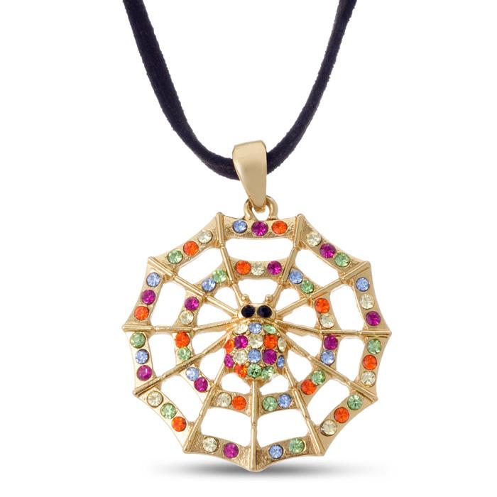Swarovski Elements Spider Web Necklace On Felt Chord, 18 Inches