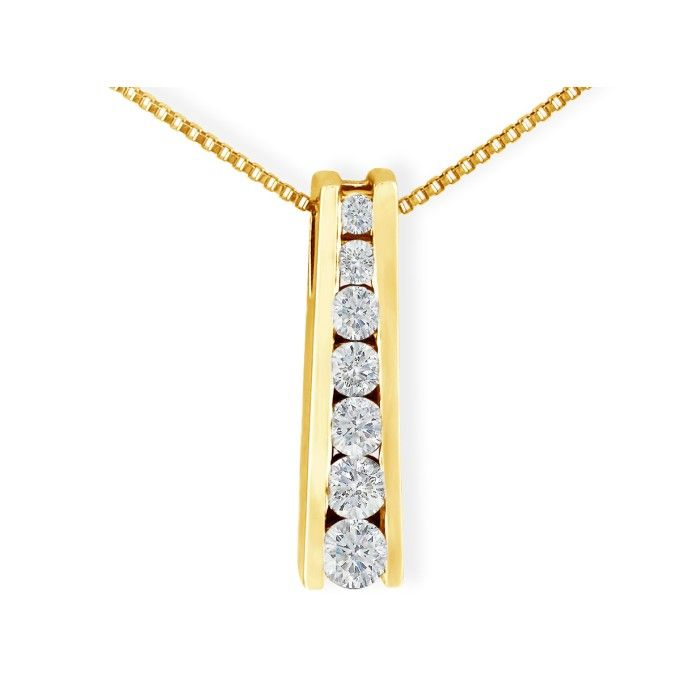 1/4ct Ladder Style Journey Diamond Pendant in 14k Yellow Gold