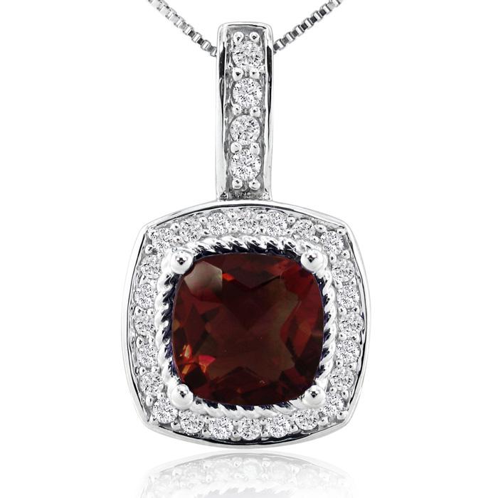 2 1/2ct Garnet and Diamond Pendant in 14k White Gold