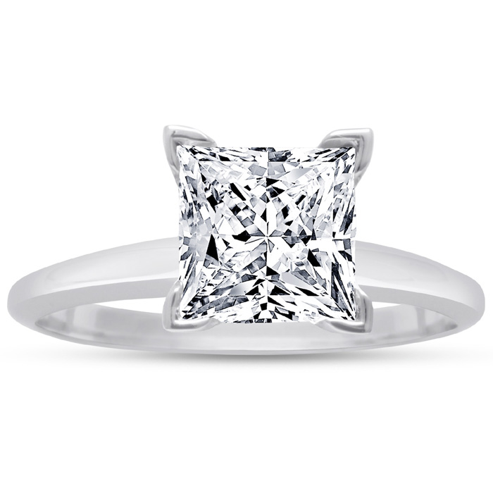 2 00 Carat Princess Cut Diamond Solitaire Engagement Ring In 14 Karat White G