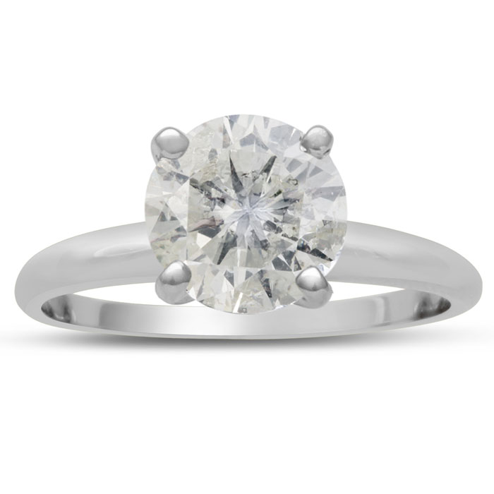 2.50 Carat Round Cut Diamond Solitaire Engagement Ring, H-I Color, I1-I2 Clarity
