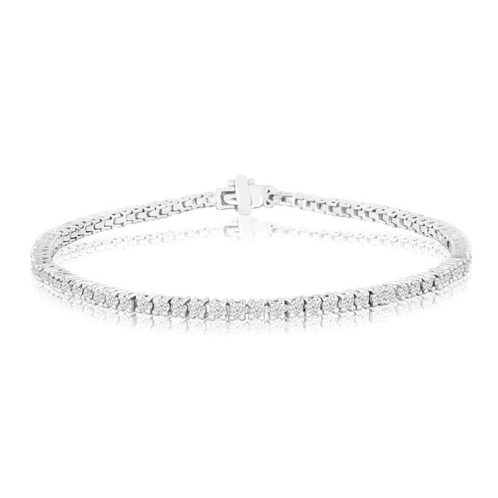 8.5-inch 2.40ct Diamond Tennis Bracelet in 14k White Gold