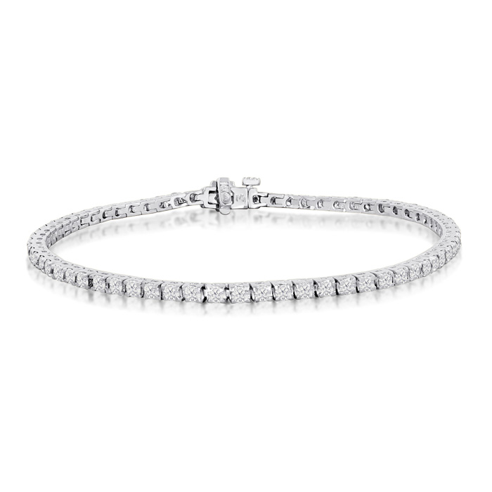 7.5 Inch, 3.21ct Round Based Diamond Tennis Bracelet in 14k White Gold
