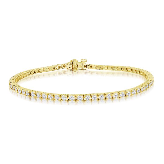 6 Inch, 2.56ct Round Based Diamond Tennis Bracelet in 14k Yellow Gold