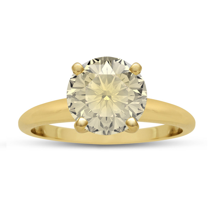 2.26 Carat Round Fancy Yellow Diamond Solitaire Engagement Ring