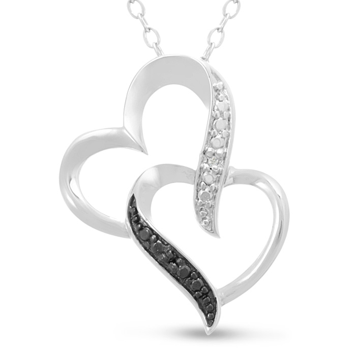Black and White Diamond Double Heart Necklace