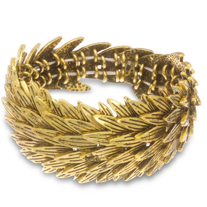 Gold Wrist Bracelet: Gold Leaf Stretch Bracelet, Fits Wrist Sizes 7-8