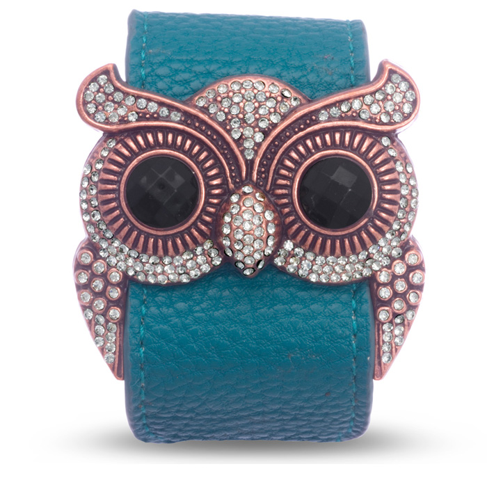 Emerald Green Leather and Crystal Owl Cuff Bracelet, Fits 6.5 to 8.5 Inches