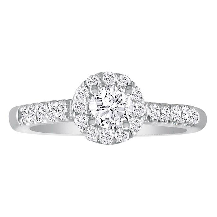 Hansa 1ct Diamond Round Engagement Ring in 14k White Gold, I-J, SI2-I1, Available Ring Sizes 4-9.5