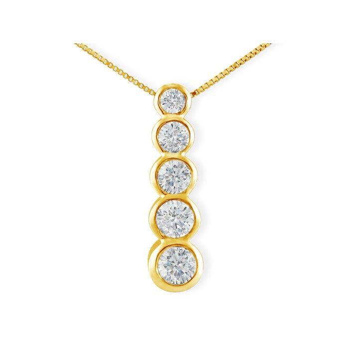 3/4ct Bezel Set Journey Diamond Pendant in 14k Yellow Gold