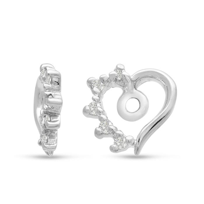 14K White Gold Heart Shape Diamond Earring Jackets, Fits 1-1 1/2ct Stud Earrings