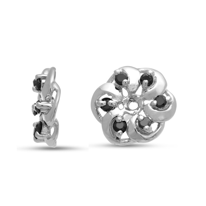 14K White Gold Floret Black Diamond Earring Jackets, Fits 1/5-1/4ct Stud Earrings