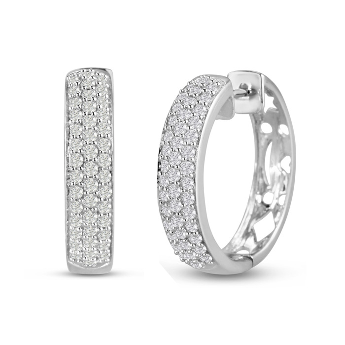 1ct Fine Diamond Hoops In 14k White Gold