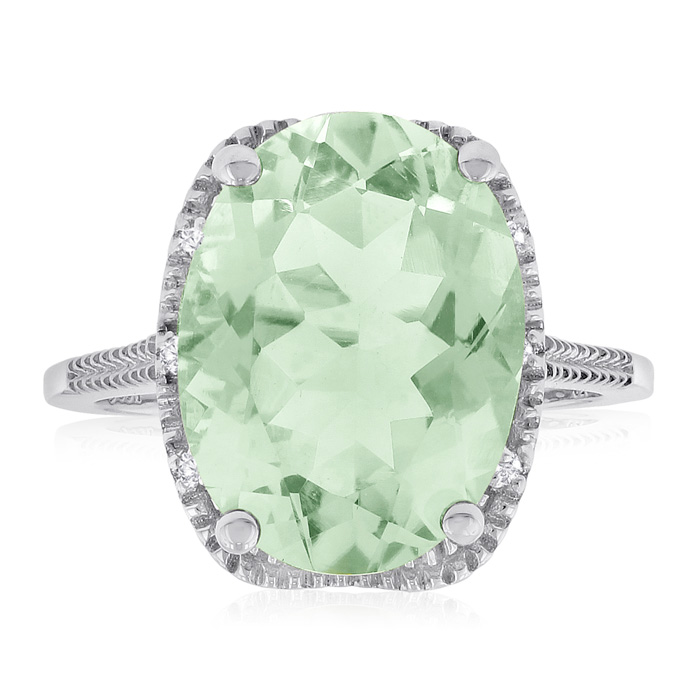 8ct Oval Green Amethyst And Diamond Ring