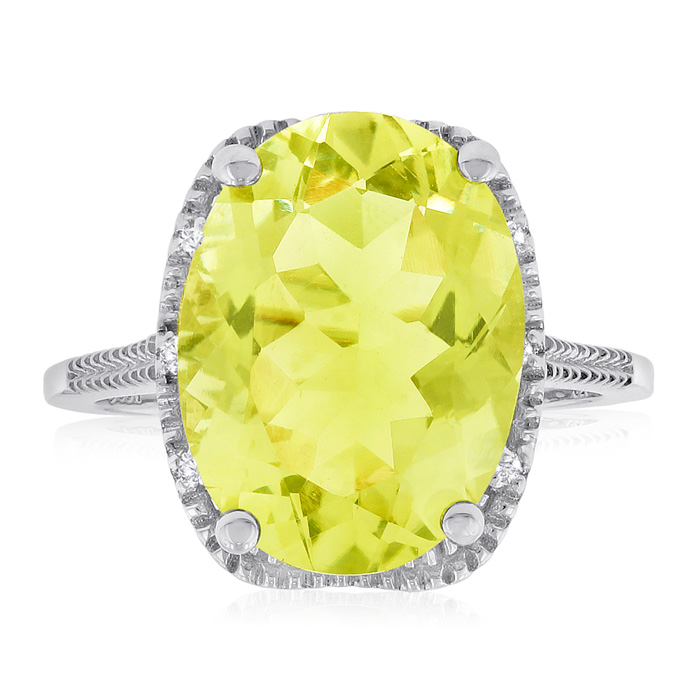 8ct Oval Shape Lemon Quartz and Diamond Ring Crafted In Solid Sterling Silver