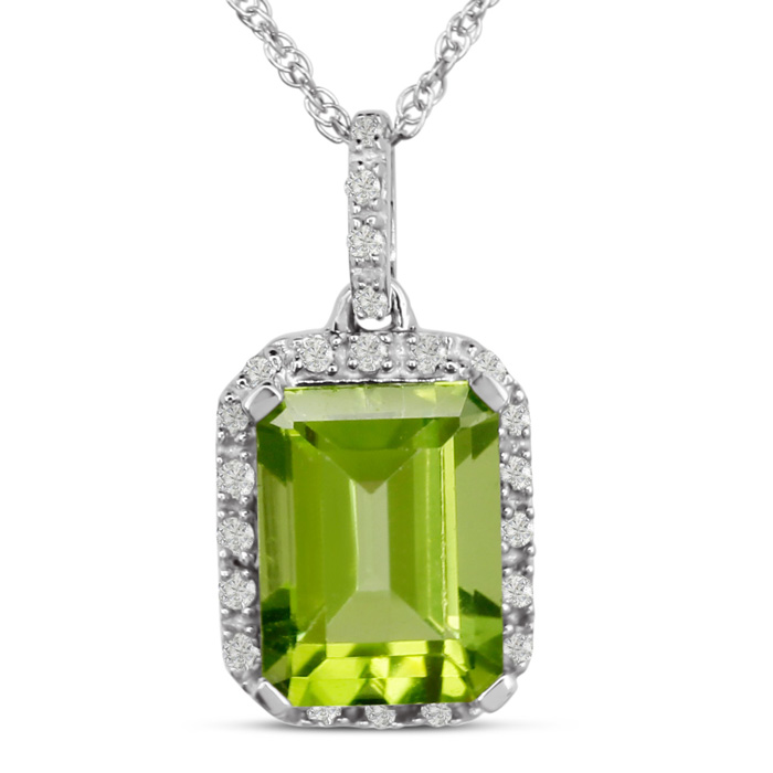 1 3/4ct Emerald Shape Peridot and Diamond Necklace In White Gold, 18 Inches