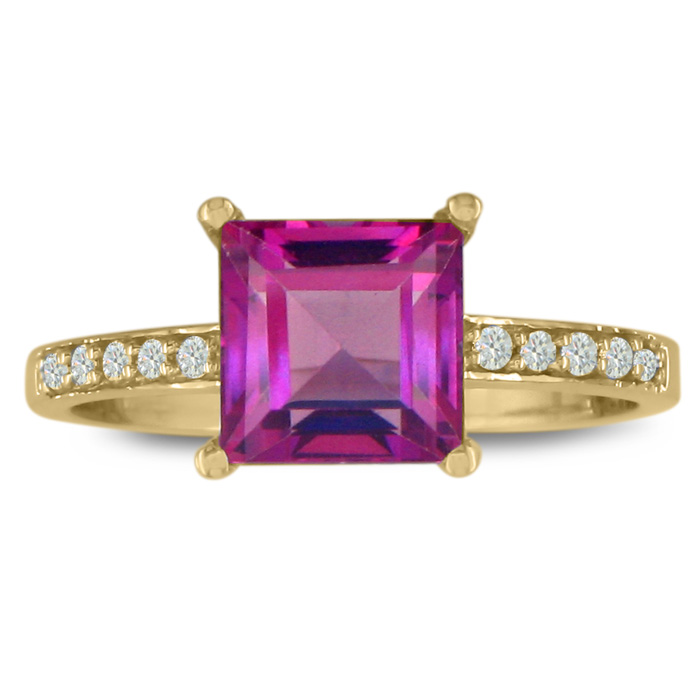 Square 1 7/8ct Pink Topaz And 1/10ct Diamond Ring, 14k Yellow Gold