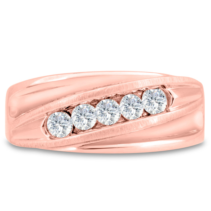 Men's 3/5ct Diamond Ring In 14K Rose Gold, G-H, I2-I3
