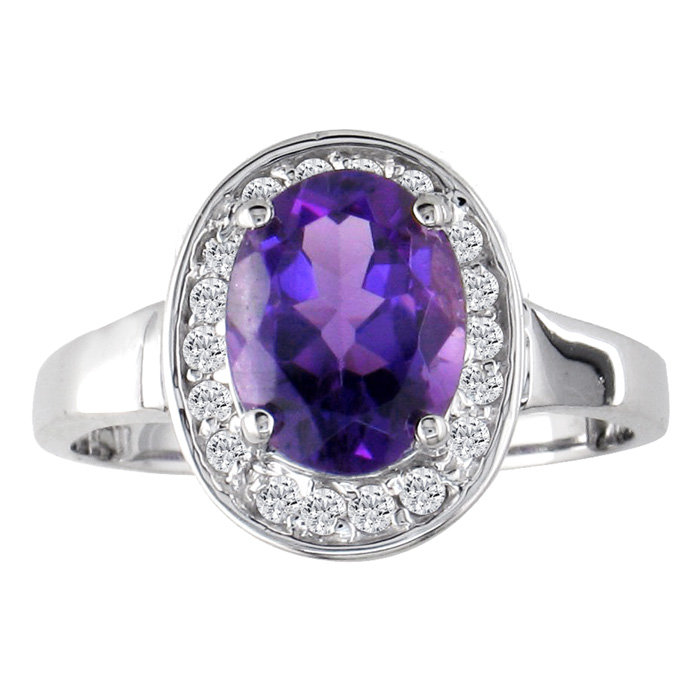 1 1/2ct Oval Cut Amethyst And .18ct Diamond Ring In 14k White Gold